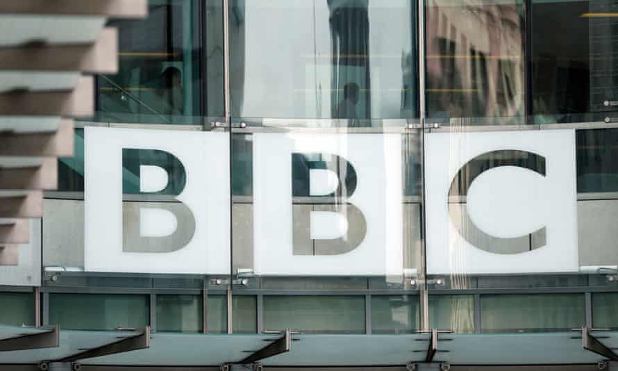 BBC logo at Broadcasting House in London.