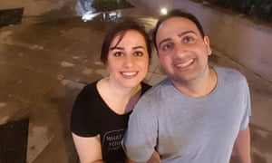 Roya Ghobadi, left, is stuck in Iran, blocked by the travel ban, while her fiancé, Seyed Amin Sam Motaghedi, lives in California.