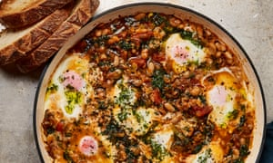 Yotam Ottolenghi's spicy cannellini beans, leeks and eggs