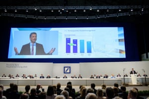 Christian Sewing, the new CEO of Deutsche Bank, speaks at the Deutsche Bank annual shareholders' meeting on May 24, 2018 in Frankfurt, Germany.