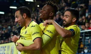 Villareal's Santi Cazorla accepts the acclaim of Samuel Chukwueze and Jaume Costa after earning a point against Real Madrid.