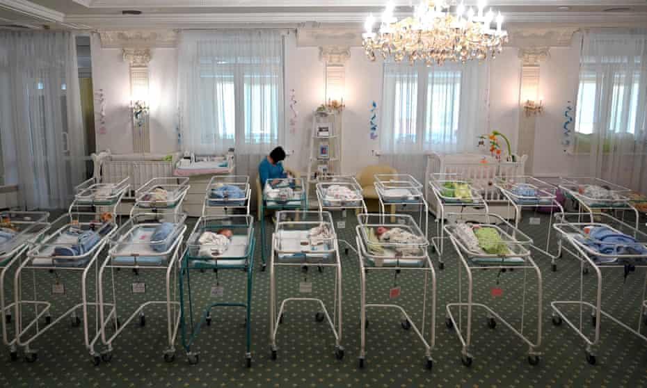Newborn babies born to Ukrainian surrogate mothers at the Hotel Venice in Kyiv