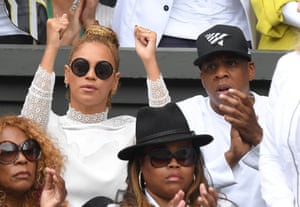 Beyonce and Jay Z at the Wimbledon women's final between Serena Williams and Angelique Kerber in 2016.