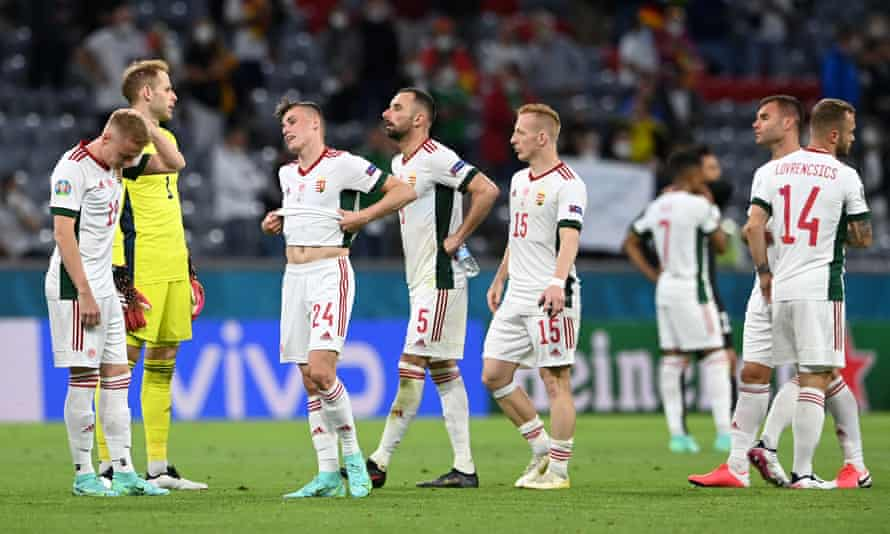 Hungary's players look dejected at the final whistle