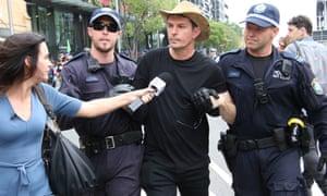 Former Greens senator Scott Ludlam was arrested at an Extinction Rebellion protest in Sydney on Monday