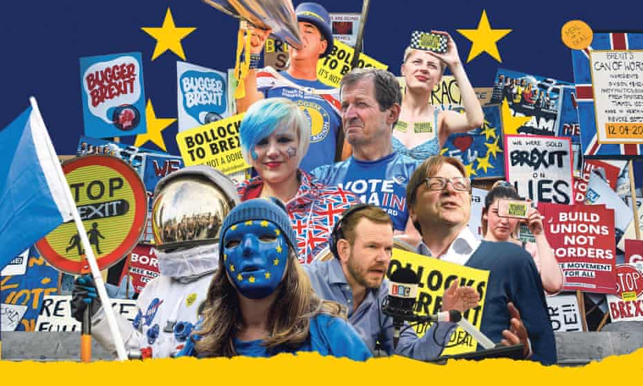 collage of numerous anti-brexit people and placards