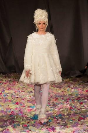 Jane Horrocks on the catwalk at London Fashion Week in February 2016.