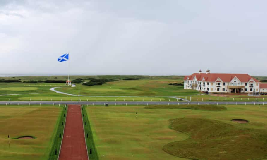 A Scottish flag is seen on the Trump Turnberry golf course.