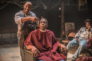 Cyril Nri and Adbul Salis in Barber Shop Chronicles at the National Theatre.