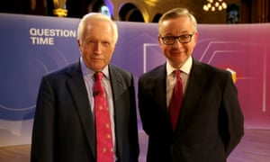 David Dimbleby and Michael Gove on the set of Question Time at the Albert Hall, Nottingham.