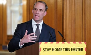 Dominic Raab giving the daily briefing on 9 April