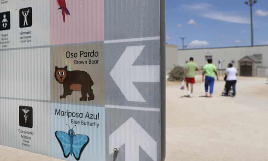 A map using English, Spanish and illustrations is seen at the Ice South Texas Family Residential Center in Dilley, Texas.