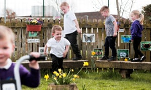 children playing outside at a nursery school