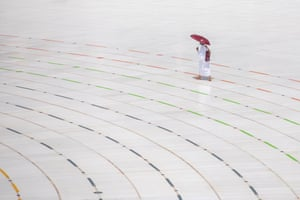 A pilgrim circling around the Kaaba at the Masjidil Haram, Islam's holiest site, during the Tawaf Al-Qudum on the first day of Hajj 2020, in Mecca, Saudi Arabia, 29 July 2020.