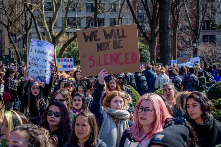 A women's rights rally at Washington Square Park, New York, in 2020