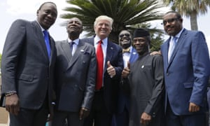 Donald Trump poses with African leaders in Taormina, Italy, on Saturday.
