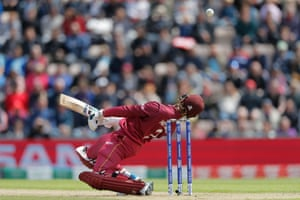 West Indies' Shimron Hetmyer ducks to avoid a bouncer .