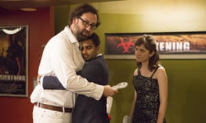 Hugging and learning: Eric Wareheim, Aziz Ansari and Noel Wells in Master of None.