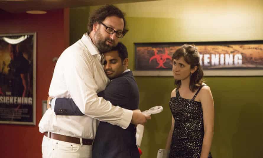 Hugging and learning: Eric Wareheim, Aziz Ansari and Noel Wells in Master of None.