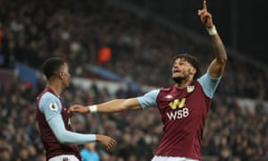 Aston Villa's Ezri Konsa celebrates the late winner with Tyrone Mings