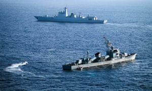Chinese navy ships in the South China Sea.