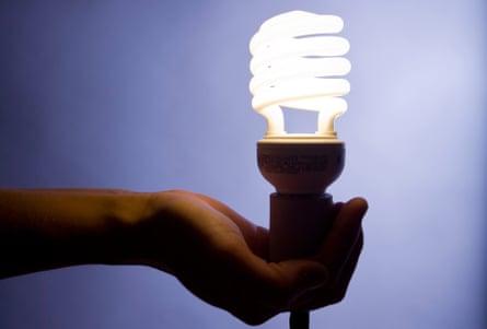 Hand holding a energy efficient fluorescent lightbulb