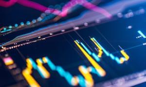Financial chart at digital display financial trading chart on digital LCD display