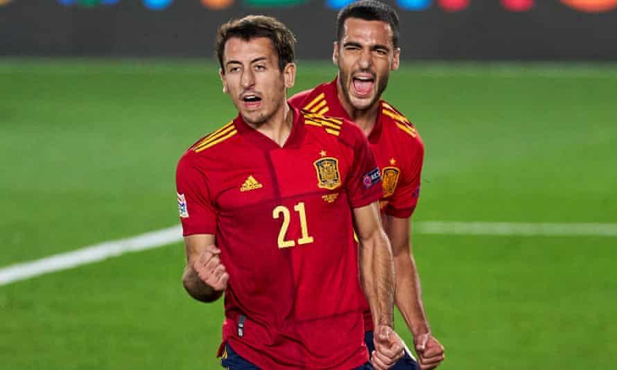 Mikel Oyarzabal celebrates scoring for Spain against Switzerland in Madrid