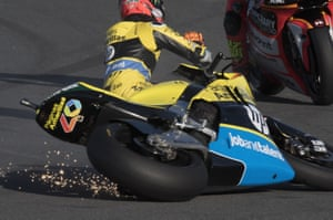 Spain's Alex Rins and his Páginas Amarillas HP 40 crash out during the MotoGP of Japan free practice in Motegi