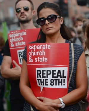Protesters demand the abolition of the eighth amendment in Dublin in 2014.