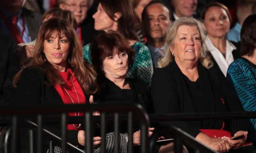 Paula Jones, Kathleen Willey and Juanita Broaddrick, left to right, watch the second presidential debate at Washington University in St Louis.