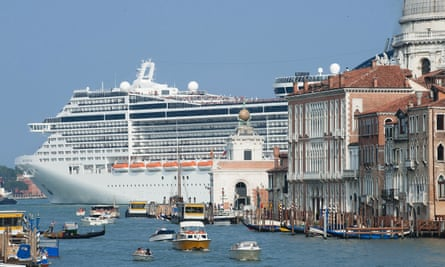 Cruise ship in Venice's lagoon