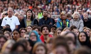 The vigil held at Forsyth Barr Stadium in Dunedin, New Zealand.