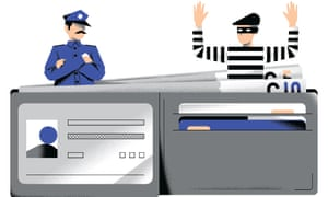 Illustration of cop and robber coming out of wallet