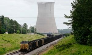 A coal train stops near a power plant near Redfield, Arkansas.