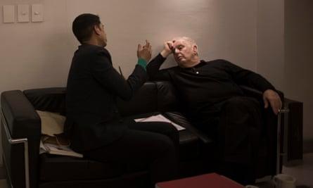 Barenboim speaks with Aditya Chakrabortty backstage at the Teatro Colon.