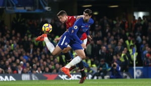 Alvaro Morata beats Ander Herrera and makes a back heeled ariel pass to Eden Hazard as Chelsea win 1-0 against Manchester United at the Stamford Bridge.