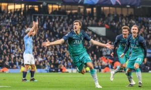 Tottenham's Fernando Llorente celebrates scoring their third goal as Manchester City's Sergio Aguero claims handball.
