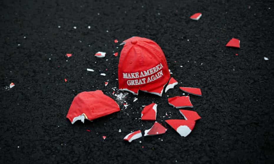 A broken hat model sculpture by Connor Czora; Donald Trump's Make America Great Again fanatics are not going to merely fade into the background despite the election result.