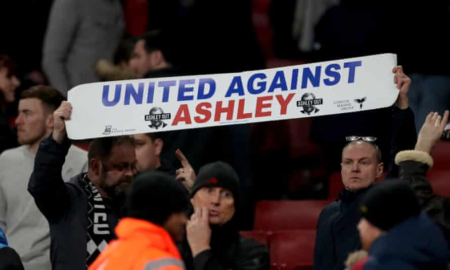 Newcastle fans protest against Mike Ashley's ownership of the club in February.