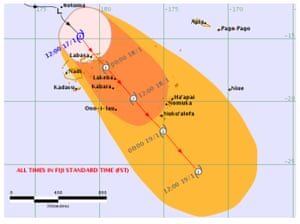 The Fiji meteorological service released a threat map showing the potential path of tropical cyclone Tino on Friday 17 January.