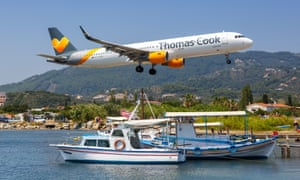 A Thomas Cook jet at Skiathos airport in Greece.