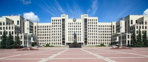 Parliament building, constructed in 1938 on the Independence Square in Minsk.