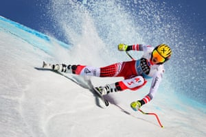 Crans-Montana, Switzerland: Austria's Nina Ortlieb competes in the women's downhill race during the FIS Alpine Ski World Cup