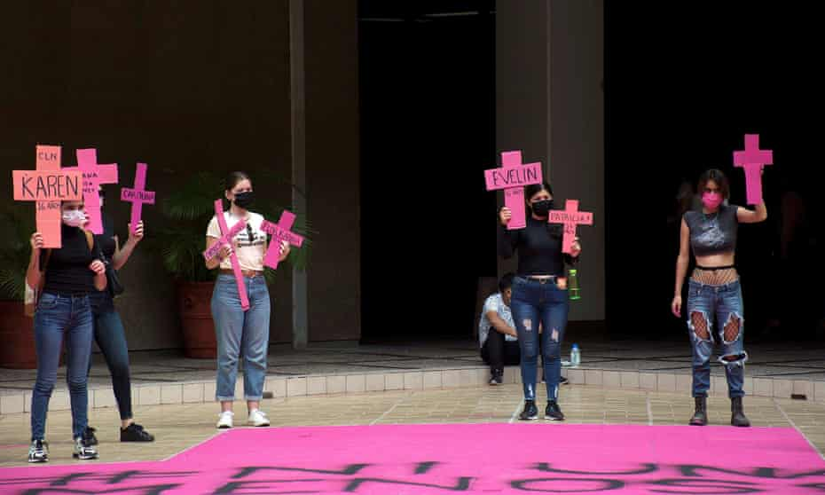 Activists demonstrate against domestic violence and femicides in the city of Culiacan, Sinaloa state, Mexico, last week.
