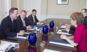 David Cameron in talks with Nicola Sturgeon in Edinburgh