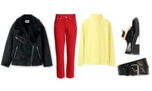 Jacket, £110, weekday.com. Trousers, £24.99, hm.com. Jumper, £12.90, uniqlo.com. Shoes, £29.99, zara.com. Belt, £235, by Balenciaga from net-a-porter.com