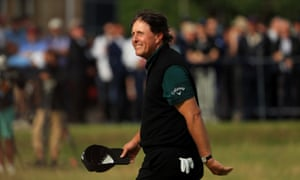 Phil Mickelson smiles as he finishes his leading round of 63.