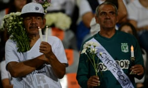 People pay tribute to the Chapecoense footballers killed in the crash.