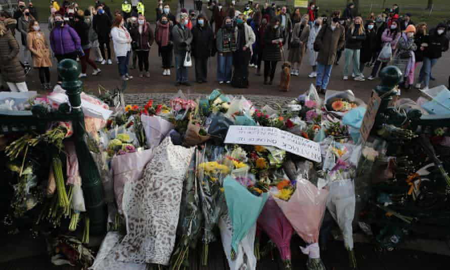 Floral tributes at the bandstand in Clapham Common, after a vigil for Sarah Everard planned for Saturday night was officially cancelled.